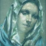 Model Maria Agemian pastel framed 13x11 1958 (Private Collection)