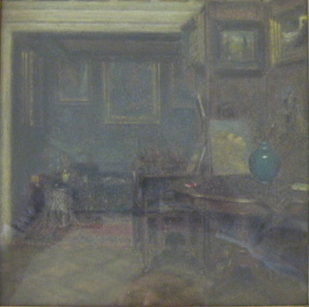 Pastel framed Artist's studio in Paris 13x13