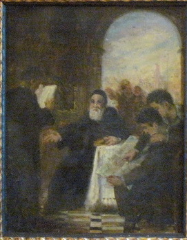 Armenian Scholars (Restored) Sketch Oil 9x7 circa 1929